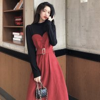 Dress Spring 2020 claret S M L XL Mid length dress Fake two pieces Long sleeves commute Crew neck High waist Solid color Socket A-line skirt other Others 25-29 years old Type A Gerberf Korean version 71% (inclusive) - 80% (inclusive) polyester fiber Polyester 80% other 20%