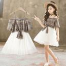 Dress White + Khaki female Cotton 95% other 5% summer Korean version Skirt / vest lattice cotton Pleats Class B Summer of 2019 3 years old, 4 years old, 5 years old, 6 years old, 7 years old, 8 years old, 9 years old, 10 years old, 11 years old, 13 years old, 14 years old Chinese Mainland