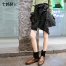 skirt Spring of 2018 SMLXL black Short skirt commute High waist A-line skirt Solid color Type A 18-24 years old 8MP1214K Othermix Asymmetric old zipper