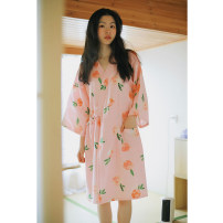 Nightgown / bathrobe female S M L XL Thin money Simplicity Hemp cotton summer More than 95% Medium length (knee to Mid Calf) Woven cotton fabric Plants and flowers Winter 2020 Other 100% Other 100%
