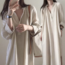 Dress Spring 2020 white S,M,L,XL longuette singleton  Long sleeves commute Crew neck High waist Solid color Socket Irregular skirt routine Others 25-29 years old Type H Korean version pocket 71% (inclusive) - 80% (inclusive) other cotton