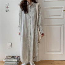 shirt Light blue, gray white L, M Spring 2021 cotton 51% (inclusive) - 70% (inclusive) Long sleeves commute Medium length other Single row multi button routine stripe 18-24 years old Straight cylinder Korean version Lace up, splice, strap Cotton and hemp