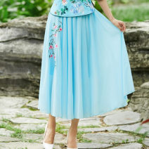 skirt Summer 2021 Average size Yellow, blue, green longuette commute Natural waist A-line skirt Solid color Type A Chiffon polyester fiber Embroidery
