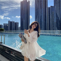 Dress Summer 2021 white S M L Short skirt singleton  Long sleeves commute V-neck High waist Solid color Socket A-line skirt routine Others 18-24 years old Type A Huan Ting Korean version Splicing More than 95% Chiffon other Other 100% Pure e-commerce (online only)
