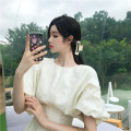 Dress Summer 2021 white S M L Mid length dress singleton  Short sleeve commute Crew neck High waist Solid color zipper A-line skirt puff sleeve Others 25-29 years old Type A Huan Ting lady More than 95% other other Other 100% Same model in shopping mall (sold online and offline)