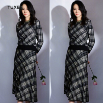 Dress Autumn 2020 Picture color S,M,L,XL Mid length dress singleton  Long sleeves commute middle-waisted lattice Socket routine 25-29 years old Type X TUXEE Retro 30% and below