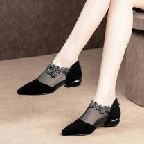 Low top shoes 35,36,37,38,39,40,41,42,43 Other / other black Sharp point PVC chemical fiber Thick heel Low heel (1-3cm) Midmouth Two layer pigskin Spring 2016 Trochanter Sweet rubber Net shoes