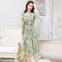 Dress Spring 2021 Pink fruit green black M L XL 2XL Mid length dress singleton  Long sleeves commute V-neck High waist Decor Socket A-line skirt routine Others 30-34 years old Type A Xuan Korean version printing 021T-2.21***/14 More than 95% Chiffon polyester fiber 100.00% polyester