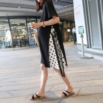 Dress Pregnani Black wave point stitching M L XL Korean version Short sleeve have more cash than can be accounted for summer Crew neck Pure cotton (95% and above) T238