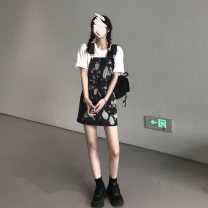 Dress Spring 2021 Wash with ink S M L XL Short skirt singleton  Sleeveless commute Crew neck High waist Socket A-line skirt routine straps 18-24 years old Type A NOAO Korean version printing More than 95% other Other 100% Pure e-commerce (online only)