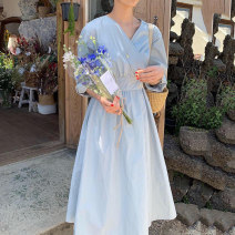 Dress Spring 2020 Blue yellow Average size longuette singleton  Long sleeves commute V-neck High waist Solid color Socket Big swing routine Others 18-24 years old Type A NOAO Korean version 806-1 71% (inclusive) - 80% (inclusive) polyester fiber Polyester 80% other 20% Pure e-commerce (online only)