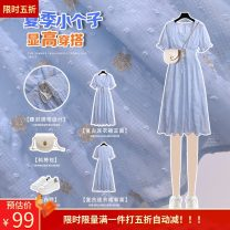 Dress Summer 2020 Vintage bubble sleeve dress S M L longuette singleton  Short sleeve commute V-neck High waist Decor Socket A-line skirt puff sleeve 18-24 years old Pomelo Yimei printing MM20890 More than 95% polyester fiber Polyester 100% Pure e-commerce (online only)
