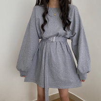 Dress Autumn 2020 Gray, black, blue Average size Sweet Solid color