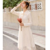 Dress Spring 2020 Apricot XS,S,M,L,XL Mid length dress Long sleeves Sweet Solid color 18-24 years old Lace Lace cotton