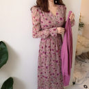 Dress Spring 2020 Pink S,M,L other Sweet other High waist Broken flowers other other other 18-24 years old Chiffon cotton