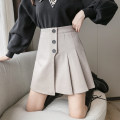 skirt Winter 2020 S,M,L,XL Black, Khaki Short skirt commute High waist A-line skirt Solid color Type A 18-24 years old Wool polyester fiber Button Korean version