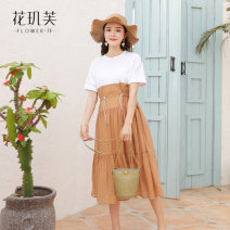 Dress Hua Jifu Camel sea blue M L XL Short sleeve have more cash than can be accounted for summer Crew neck other