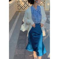 skirt Spring 2021 S,M,L Lemon vanilla pre-sale, malachite blue pre-sale Mid length dress High waist A-line skirt Type A D7141 More than 95% other
