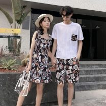 T-shirt Youth fashion Women's dress men's suit routine Female s female m female l female XL female 2XL male m male l male XL male 2XL male XXL Huangzhan Short sleeve Crew neck easy daily summer QLTZ008 Cotton 90% other 10% teenagers Off shoulder sleeve tide Cotton wool Summer 2020 other Assembly