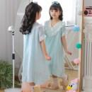 Home skirt / Nightgown Satu 110cm 120cm 130cm 140cm 150cm 160cm Cotton 100% White, blue, pink summer female Home Class B cotton Summer 2020