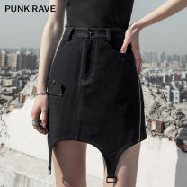 skirt Spring 2021 XS,S,M,L,XL black Short skirt street High waist A-line skirt Solid color Type A 18-24 years old PQ-974BQ 91% (inclusive) - 95% (inclusive) Denim PUNK RAVE cotton Punk