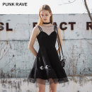Dress Summer 2021 black XS,S,M,L,XL Short skirt singleton  Sleeveless street other High waist Solid color zipper A-line skirt other camisole 18-24 years old Type A PUNK RAVE PQ-1052LQ More than 95% other nylon Europe and America