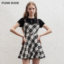 Dress Summer 2021 Black, red, black and white XS,S,M,L,XL Short skirt singleton  Short sleeve street Crew neck High waist lattice other A-line skirt routine Others 18-24 years old Type A PUNK RAVE Hollowed out, stitched PQ-1042LQ 30% and below polyester fiber Punk
