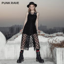 Dress Summer 2021 black XS,S,M,L,XL Middle-skirt Two piece set Sleeveless street other middle-waisted lattice A-line skirt routine straps 18-24 years old Type A PUNK RAVE PQ-1072LQ More than 95% polyester fiber Punk