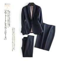 Professional pants suit Navy suit, Navy skirt, Navy Pants XS,S,M,L,XL Spring 2020 loose coat Long sleeves trousers 71% (inclusive) - 80% (inclusive) wool
