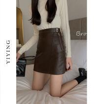 skirt Autumn 2020 S M L Brown Black Short skirt commute High waist A-line skirt Solid color Type A 25-29 years old YI200857 Yiying zipper