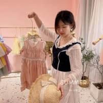 Dress Pink dress female Other / other 110cm, 120cm, 130cm, 140cm, 150cm, one hand Cotton 100% cotton Lotus leaf edge Eight, seven, six, five