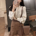 Lace / Chiffon Spring 2021 Black, cream apricot, beige apricot S,M,L,XL Long sleeves Sweet Cardigan singleton  easy Regular V-neck Dot shirt sleeve 18-24 years old Other / other Bows, lace UPS, prints, buttons 96% and above college