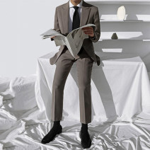 Suit Youth fashion Others Dark Khaki, Dark Khaki Pants M. L, XL, 2XL, reference: model height 177 weight 120 try on L routine Baling collar No slits autumn Self cultivation Double breasted Other leisure teenagers tide Regular collar (collar width 7-9cm) 2020 Solid color Fusible interlining process