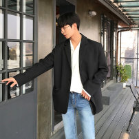 man 's suit Black, gray Mrcyc Youth fashion routine M. L, XL, 2XL, reference: model height 177 weight 120 try on L easy Triple single breasted Other leisure Back middle slit teenagers Long sleeves spring routine tide Casual clothes Flat lapel Straight hem Solid color 2020 Hidden thread patch bag