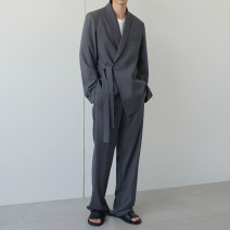Suit Youth fashion Others Khaki suit, black suit, grey suit, khaki pants, black pants, grey pants M. L, XL, 2XL, reference: model height 177 weight 120 try on L routine Green fruit collar Back middle slit autumn easy A single breasted button Other leisure teenagers tide 2020 Solid color cotton