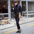 Western-style trousers Others Youth fashion Gray, blue trousers Slim fit autumn leisure time youth tide Solid color 2018 No iron treatment cotton