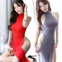 Dress Winter of 2018 Black, red, violet, gray, watermelon red, coffee, rose red, light blue, orange pink, meat pink One size fits all, with open stockings (meat), with open stockings (black) A-line skirt Other / other