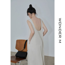 Dress Summer 2021 Apricot, black, sky blue Average size Mid length dress singleton  Sleeveless commute Crew neck High waist Solid color zipper A-line skirt Others 18-24 years old Type A Korean version Open back, pocket E2132 91% (inclusive) - 95% (inclusive) Chiffon cotton