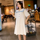 Dress Ti Lixuan White pink yellow M L XL leisure time Short sleeve Medium length summer Lapel Solid color