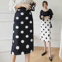 skirt Spring 2021 S,M,L,XL White, black longuette commute High waist skirt Dot Type A 25-29 years old 91% (inclusive) - 95% (inclusive) Other / other polyester fiber Korean version