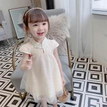 Dress Off white, red, black, black suspender skirt female 3qbb / Sanyou Beibei 90cm,100cm,110cm,120cm,130cm Cotton 100% summer Korean version Long sleeves Solid color cotton A-line skirt Class B 18 months, 2 years old, 3 years old, 4 years old, 5 years old, 6 years old, 7 years old, 8 years old