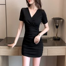Dress Summer 2021 [short sleeve version] S M L XL XXL 3XL Short skirt singleton  Short sleeve commute V-neck High waist Solid color Socket One pace skirt routine Others 25-29 years old Type X Kayichi Korean version Pleated stitching 9111 cotton short sleeve-543 More than 95% other cotton