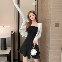 Dress Autumn 2020 Knitted cardigan suspender skirt [suspender skirt + cardigan] S M L XL XXL Short skirt Two piece set Long sleeves commute One word collar High waist Solid color Socket A-line skirt routine camisole 25-29 years old Type A Kayichi Korean version Irregular sling More than 95% other