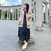 Dress Luemrem / LAN Shilei M L XL XXL one size fits all Korean version Long sleeves Medium length autumn Crew neck Abstract pattern
