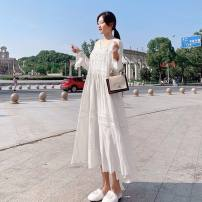 Dress Luemrem / LAN Shilei white M L XL XXL XXXL Korean version Long sleeves have more cash than can be accounted for autumn V-neck Solid color