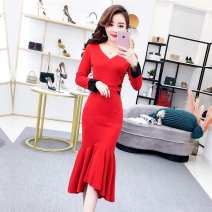 Dress Winter of 2018 Black, red S,M,L Mid length dress singleton  Long sleeves commute V-neck High waist Solid color Socket One pace skirt routine Others 18-24 years old Type H Other / other Korean version Fungus, splicing More than 95% brocade polyester fiber