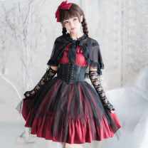 Dress Winter of 2018 Red short + BELT + sleeve, black short + BELT + sleeve, red long + BELT + sleeve, black long + BELT + sleeve, red short, black short, red long, black long One size, one size + shawl, one size + hemline, one size + shawl + hemline Mid length dress Sweet High waist Solid color