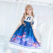 Dress Summer of 2019 Short sleeve dress, short sleeve dress + Hair Band S. M, l, S + corset, M + corset, L + corset Middle-skirt Short sleeve Sweet Cartoon animation Princess Dress Lolita