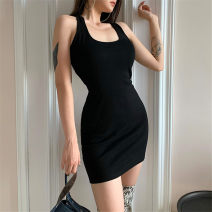 Dress Spring 2021 black S,M,L Short skirt singleton  Sleeveless street Crew neck High waist Solid color Socket One pace skirt routine Hanging neck style 18-24 years old Type H TUD3698W0F 31% (inclusive) - 50% (inclusive) polyester fiber Europe and America