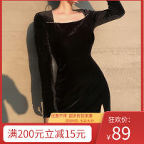 Dress Winter 2020 black S, M Short skirt singleton  Long sleeves Sweet square neck High waist Solid color Socket One pace skirt routine 18-24 years old Type H TUVLD01666 51% (inclusive) - 70% (inclusive) polyester fiber